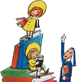 Madeline climbing a stack of books
